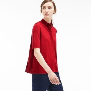 Lacoste Milano Pleated Back Polo Red Top 32 0